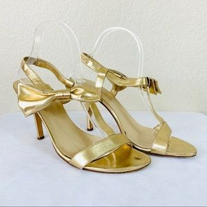 {Kate Spade} Gold Bow Strappy Heeled Sandals
